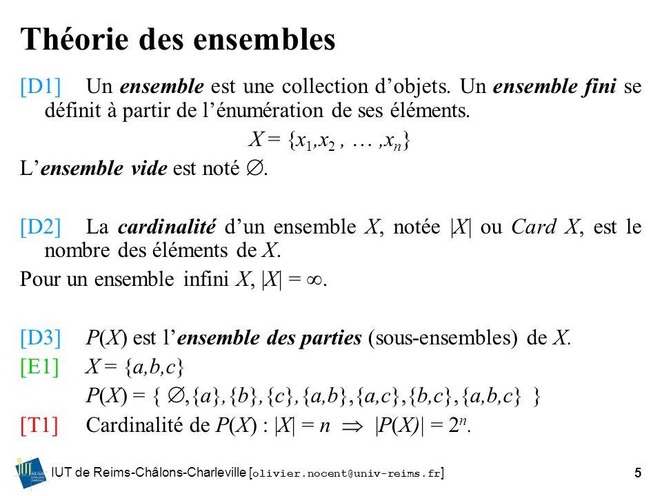 Théorie des ensembles [D1] Un ensemble est une collection d'objets. Un ensemble fini se définit à partir de l'énumération de ses éléments.